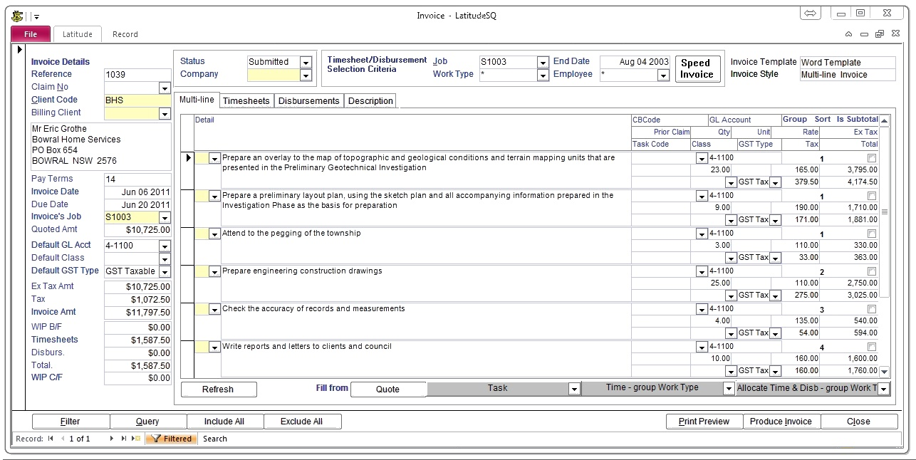 Latitude allows flexible invoicing. Timesheets and disbursements can be allocated to invoices, with an option to display or hide details on copy sent to customers. Alternatively, the user can enter free-text invoice line-item descriptions while still retaining full timesheet and disbursement allocations for use in financial reporting. Design your templates in Word.